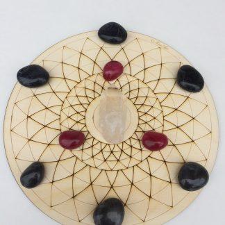 Large Crystal Grid Plate Lotus Flower Sacred Geometry Healing